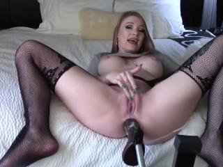 Hard ass fuck with sex machine huge dildo big anal gape