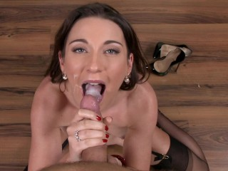 Boss gives blowjob & swallow huge load of cum