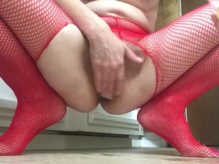 Wet fisting fun with fishnets