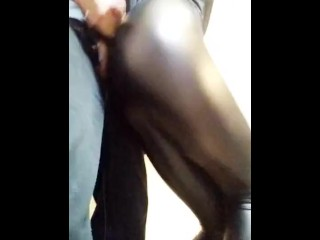 Dry humping on leather leggings ass
