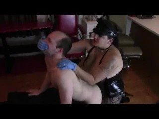 strong mistress abuse and fucks with strapon poor slave guy