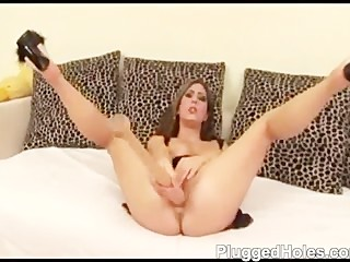 Long legged girl fucking a baseball bat and more