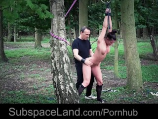 Hot body shaped slave doggie bdsm fucked in the forest