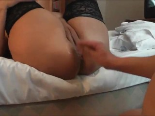 Hot BBW Gets Her Shaved Pussy Fingered and Fisted to a Squirting O