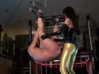 Mistress Black Latex Gloves Strapon Handjob & Cum