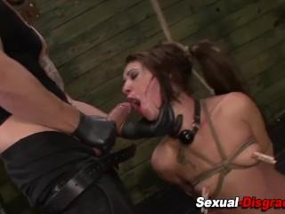 Tied up bdsm slut gagged