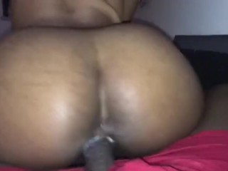 Ebony Cream Crazy while riding my brothers Cock!!