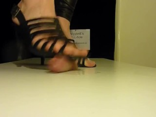 Brutal cock crush footjob with strappy high heels