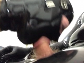 Latex couple, fuck machine and blowjob in armbinder