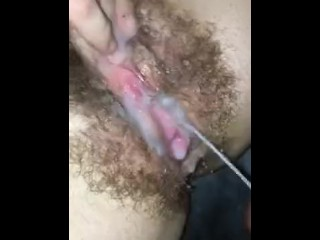 Hairy milf covered in cum and squirting hard multiple times!