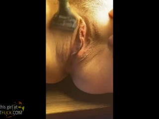 Cute Alicia shaving pussy for me