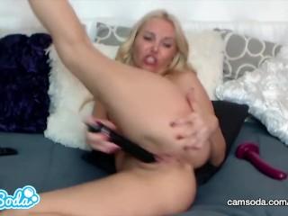 Aaliyah Love big tits big ass MILF masturbating with two toys.