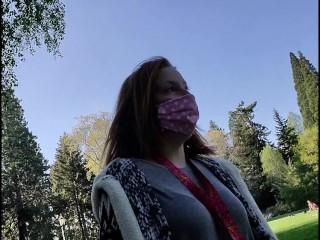 slavegirl ball-gagged in public during Coronavirus