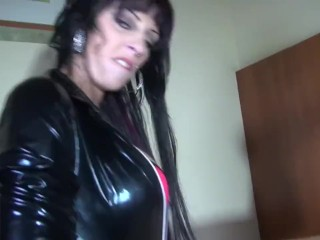SEXY FEMDOM LATEX GLOVES MISTRESS GIRL HAS EXTREME SEX WITH SLAVE BOY