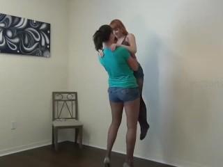 Amazon Vanessa plays with tiny Lizzy Lamb
