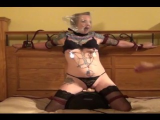 Bed-tied girl orgasms with sybian and breath play BDSM Breath Play