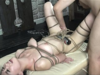 Sexy chinese nude model taking BDSM style portarit