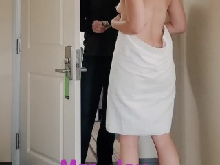 Daring Delivery Tits and Pussy in a Towel - I Flash and Let Him Touch Me
