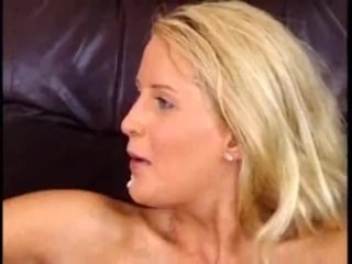 Blond whore takes three cocks