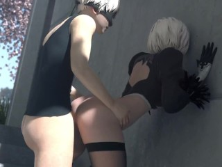2B x 9S Against Wall Fuck (Animation W/Sound)