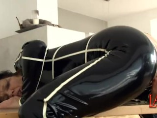 Extreme pussy dilation and stretching with giant cone-dildo