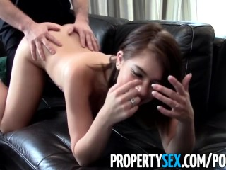 PropertySex - Tenant with amazing natural boobs busted for porn torrents