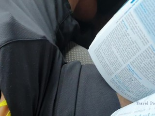 Almost caught! Public hand job on a bus, cum in shorts - Travel Porn - E09