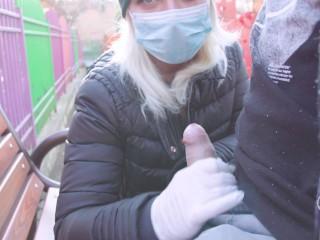 - 4K -FUCK CORONAVIRUS ! -RISKY OUTDOOR HANDJOB IN PARK, CUMSHOT ADELLA JAY