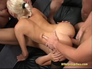 Wild girls are pumped in orgy