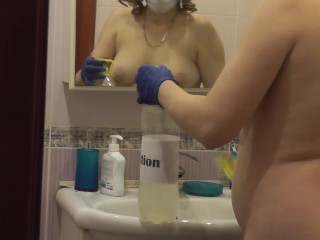 COVID-2019 . Naked MILF disinfect apartment from coronavirus SARS-CoV-2