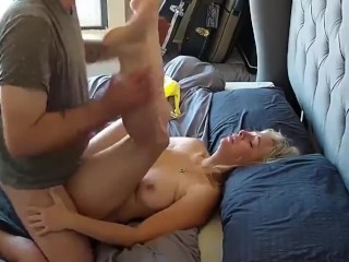 Horny and busty MILF gets hard fucked by 18yo roommate