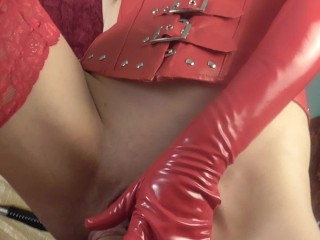 MASSIVE CUMLOAD 10 DAYS ABSTINENCE. FEMDOM IN RED LATEX EXTREME EDGING
