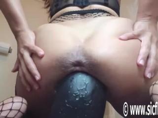 Gigantic Dildo Wrecks Her Latin Pussy