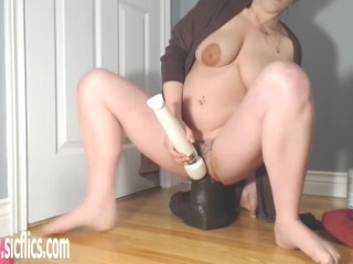 Stretching Her Loose Hole With Giant Toys