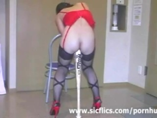 Extreme slave fucked with a huge baseball bat