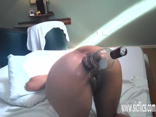 Anal fisting and XXL whiskey bottle fuck