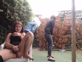 Hot lesbians masturbating in public park