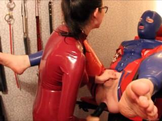 Asian mistress rails bound slave (white latex gloves)