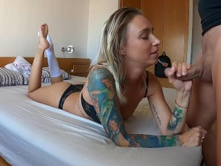Feet pose blowjob for feet and socks lovers