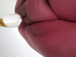 BBWFISTSLUT extreme anal bottle insertion