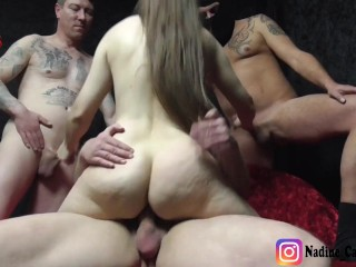 Insemination Gang Bang with Real Amateur Teen - Extremely Hairy Teen Cunt