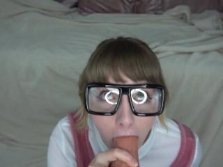 Girl With Glasses Extreme Hardcore Deepthroat