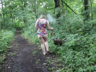 Upskirt POV outdoor public flashing, pissing & pussy play in woods on public hiking trail