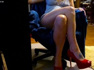High Heels Short Skirt Leg Crossing Pussy Flash