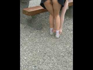 Asian flashes pussy in public
