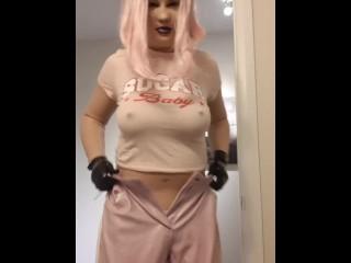 Rubber doll in vinyl pants