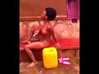 Horny African teen naked outdoor