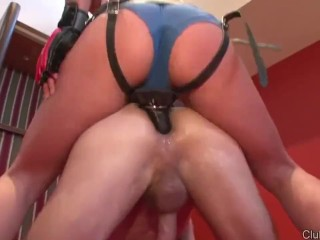 Male-Female Wrestling and Strapon Pegging Domme Femdom
