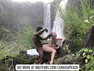 Passionate Outdoor Blowjob and Sneaky Sex in Hawaiian Waterfall Paradise