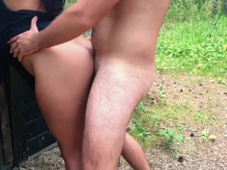 Real couple sex and creampie outside cabin in the woods! OUTDOOR SEX!